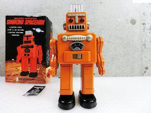 ブリキ ロボット スモーキングスペースマン オレンジ 箱付き 買取