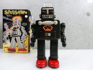 ブリキ ロボット スモーキングスペースマン 黒 箱付き 買取